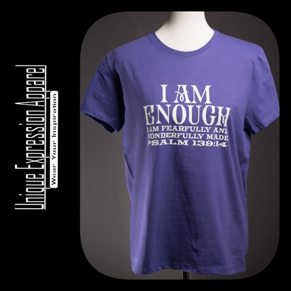 """Unique Expression Apparel Tops - """"I Am Enough"""" casual purple graphic tee"""